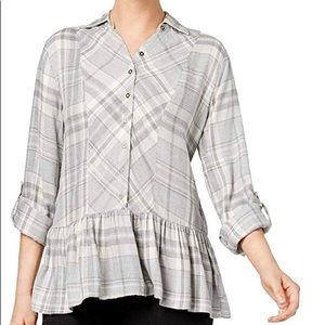 Women's Plaid Flannel Peplum Top